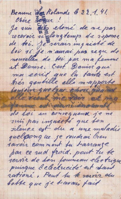 Lettre écrite par Michel Piernikarz à sa sœur Rosa du camp de Beaune-la-Rolande (22 janvier 1941) (recto). Archives familiales
