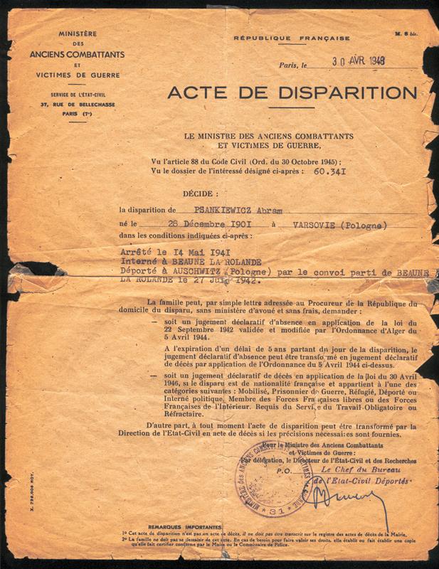 Acte de disparition établi au nom d'Abraham Psankiewicz (30 avril 1948). Archives familiales