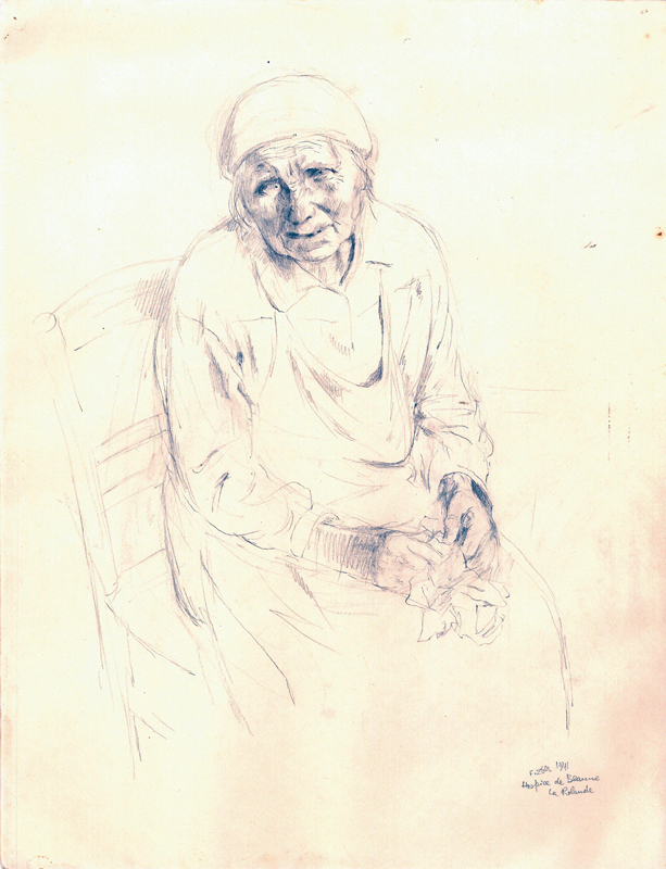 Sans titre, F.Zber, 1941. Inscription : « Hospice de Beaune la Rolande ». Dessin au crayon graphite sur papier. 32,5 x 25 cm. Collection Cercil n°INV 210-16