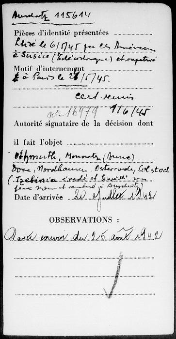 Fiche d'enregistrement de Simon Drucker au camp de Beaune-la-Rolande (verso) Archives Nationales