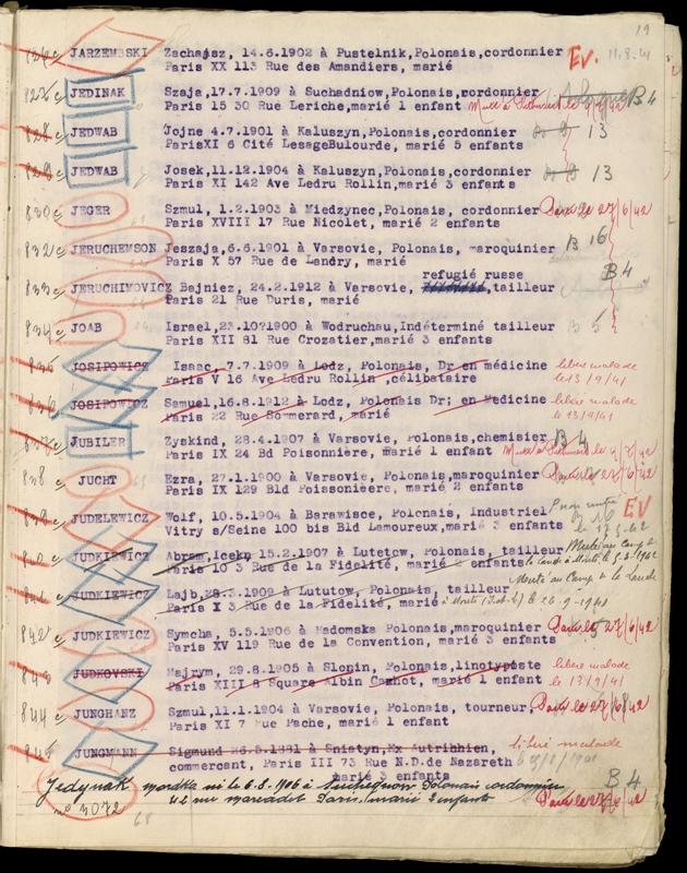 Extrait du registre des internés du camp de Beaune-la-Rolande (1941-juillet 1942). Archives départementales du Loiret – 175 W 34120