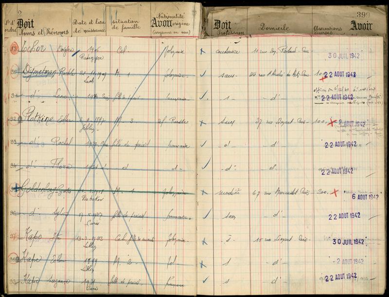 Extrait de registre du camp de Pithiviers où Rosa (Ruchla) et Léna sont internées à partir du 19 juillet 1942. Archives départementales du Loiret