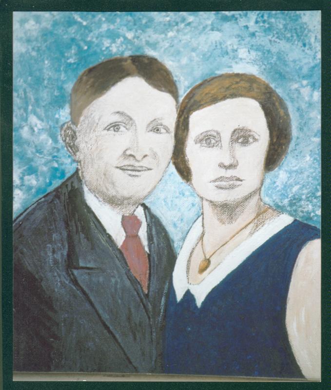Chaïm et Osna-Anna Grosman. Portrait peint par leur fille Jeannine Frenk née Grosman (sd). Archives familiales