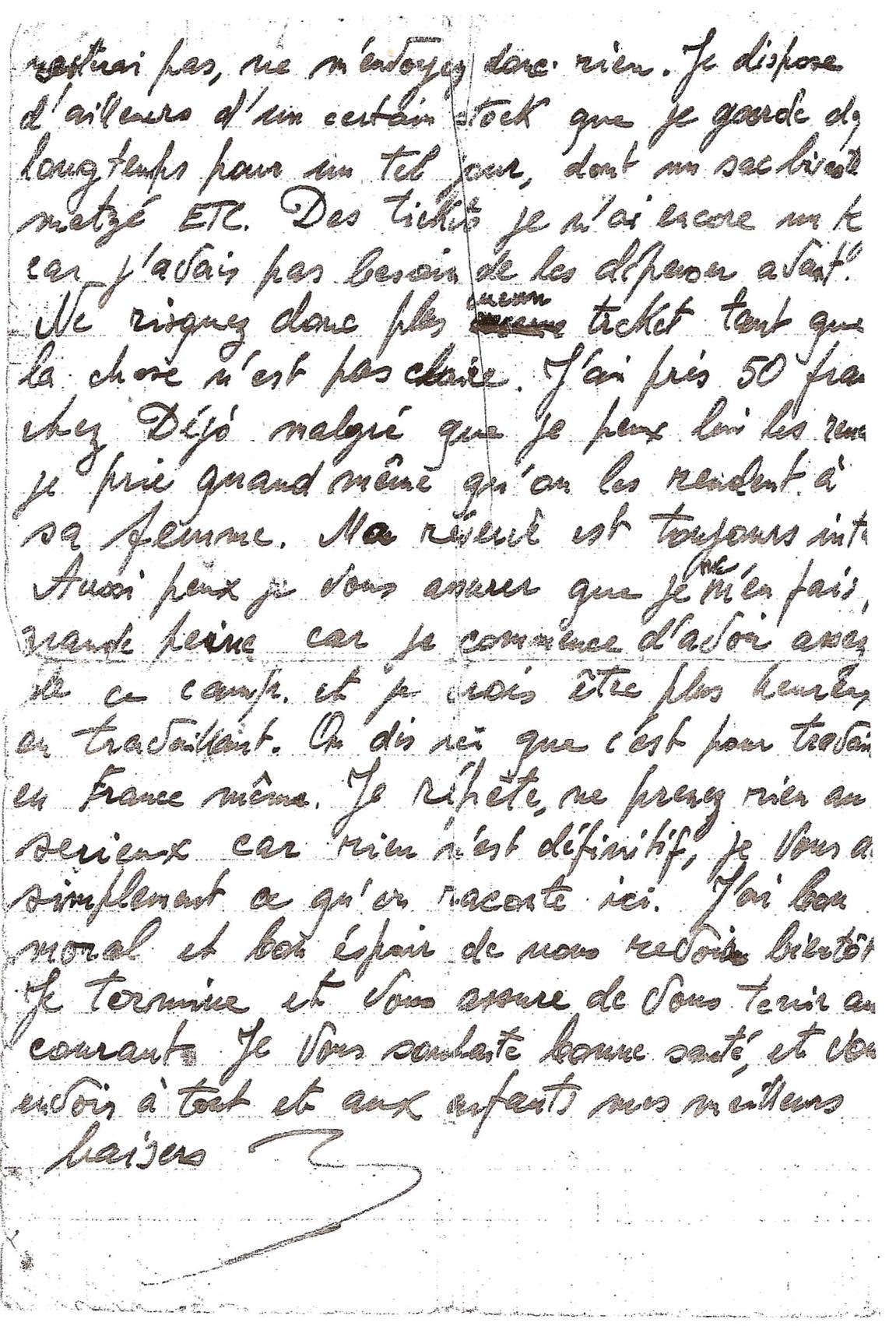 Lettre clandestine, écrite du camp de Beaune-la-Rolande par Jankiel Hochberg, trois jours avant sa déportation (25 juin 1942) «Il est fort possible qu'un départ ait lieu». Archives familiales