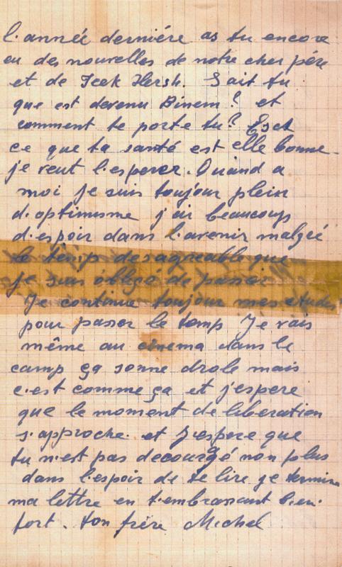 Lettre écrite par Michel Piernikarz à sa sœur Rosa du camp de Beaune-la-Rolande (22 janvier 1941) (verso). Archives familiales