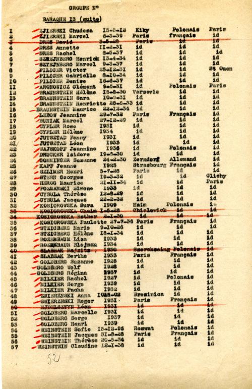 Extrait de la liste des personnes transférées de Beaune-la-Rolande à Drancy le 19 août 1942 où figure Isidore Archives départementales du Loiret