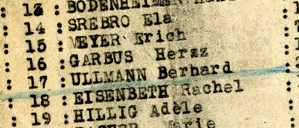 Liste des 17 hommes et 6 femmes venant de Chartres (Eure-et-Loir) internées au camp de Beaune-la-Rolande le 27 juin 1942. Archives départementales du Loiret – 175 W 34121