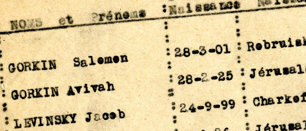 Liste de huit personnes, dont Salomon et Avivah Gorkin, internées au camp de Beaune-la-Rolande le 27 juin 1942, venant de Montargis (Loiret). Toutes sont déportées le lendemain par le convoi 5. Archives départementales du Loiret – 175 W 34121