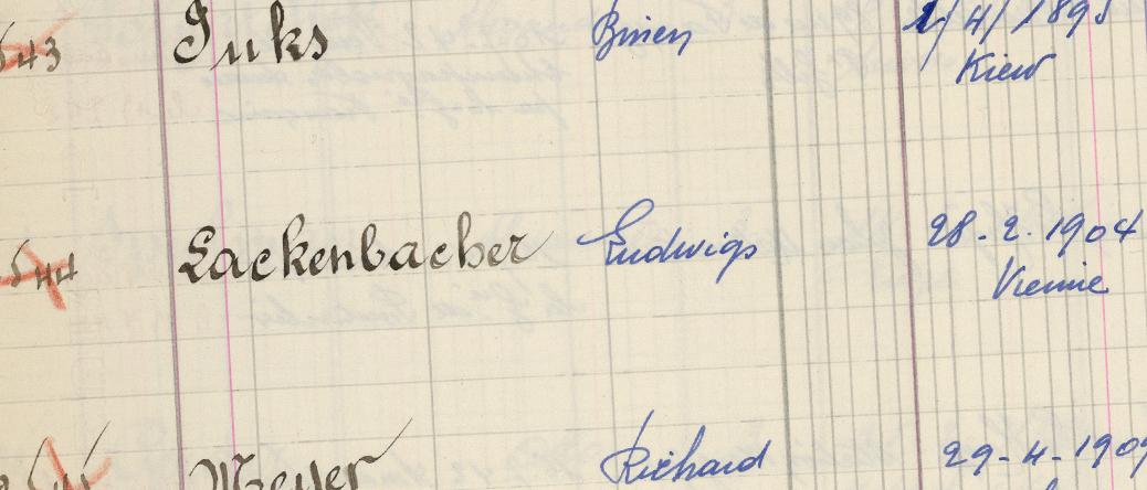 Extrait d'un registre d'internés de Pithiviers (13-21 juillet 1942). Archives départementales du Loiret – 20 M 789