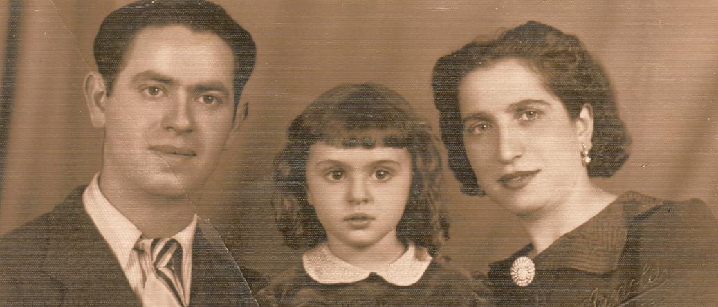 Mejer Rubinsztejn avec sa femme Bajla et leur fille Micheline (1938). Archives familiales