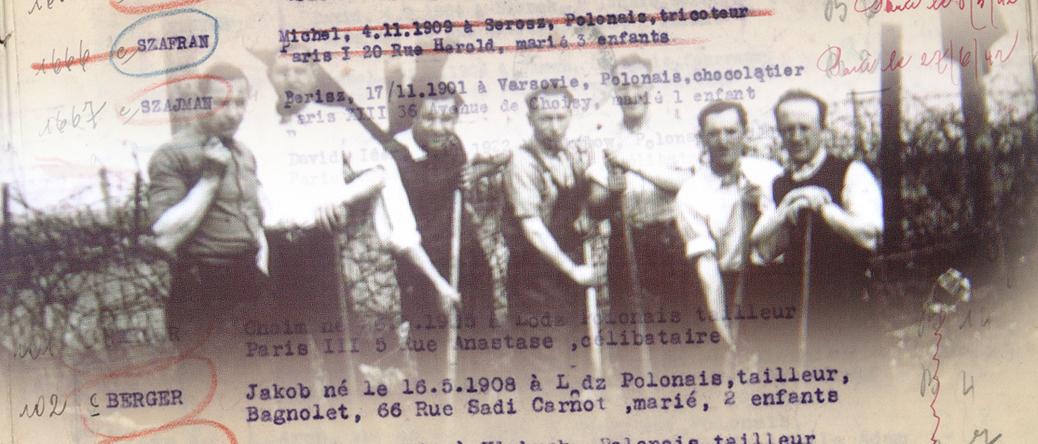 Au camp de Beaune-la-Rolande. Monasche (dit Michel) Szafran est le 2e en partant de la droite. Archives familiales