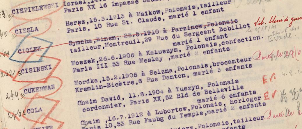 Le nom de Moïsche Cisinski inscrit sur le registre des internés du camp de Beaune-la-Rolande. Archives départementales du Loiret – 175 W 34120