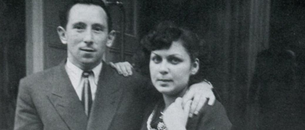 Après la guerre, Moshe Jakubowicz avec Paulette, son épouse (sd, sl). Archives familiales – Photo extraite du livre de Maurice Jacoubot et Aurélie-Samantha Boulé, De Jakubowicz à Jacoubot, 1994.