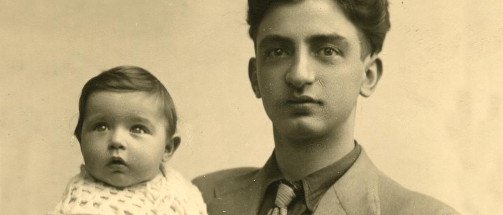 Abraham Korenbajzer avec sa fille Aline (sd, 1940). Cercil/fonds famille KORENBAJZER